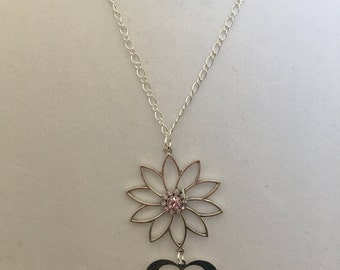 Silver Chain Flower and Heart Pendant Necklace