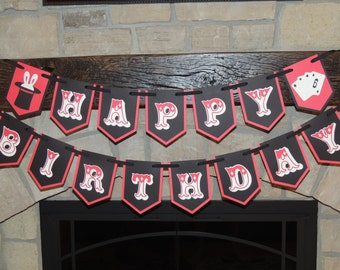 Magic party Happy Birthday banner. Magic party decorations. Magician party. Rabbit in hat. Playing cards. Ready to ship.