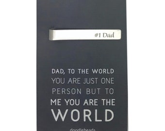 Fathers Day Gift, Dad Gift, #1 Dad Tie Clip with card To the world you are just one person but to me (us) you are the world, Gift from kids