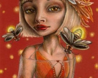 Venus and fireflies - planet as a woman - big eyes surreal pop - print of a drawing by Tanya Bond
