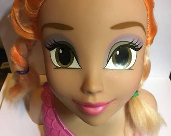 Mattel Disney manikin head, doll head for styling, great for jewelry or hat display, crafts, make overs