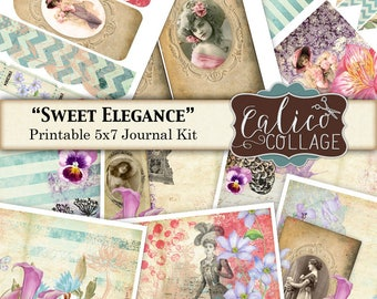 Sweet Elegance, Junk Journal Kit, Printable Journal, Vintage Flowers, Printable Ephemera, Digital Printable, DigiKit, Vintage Ladies