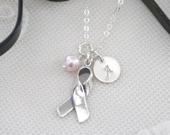Cancer Gifts, Sterling Silver, Cancer Ribbon Necklace, Breast Cancer Gift, Survivor Gift, Initial Pearl, Personalized Cancer Necklace