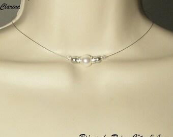 light grey white wedding Collection - Joseph - Glamour necklace wedding Swarovski white Crystal Necklace