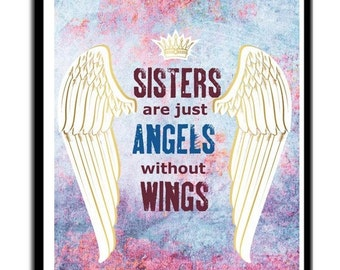 Christian Artwork, Sisters Are Angels, Christian Wall Art, Religious Gifts, Christian Decor, Angel Artwork,Collage Art, Angelic Art, Angels