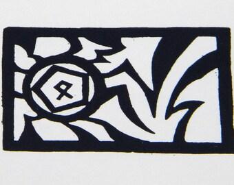 Odin's Rune Woodcut Print
