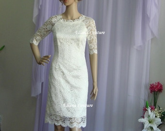 READY TO SHIP. Caroline - Retro Style Lace Wedding Dress. Knee Length.