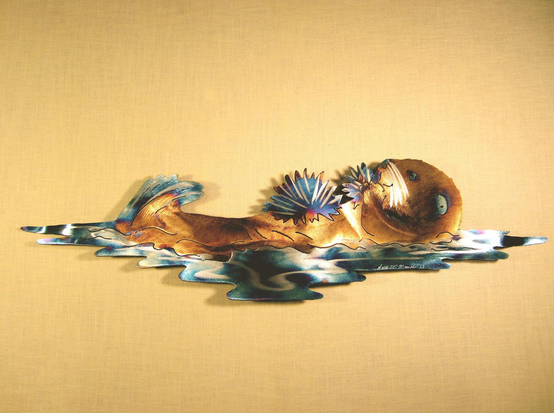 Sea Otter Otters Coast Coastal Steel Ocean Decor Marine Mammal