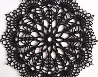 "crochet black doily 9"" little black lace small crocheted doilies"
