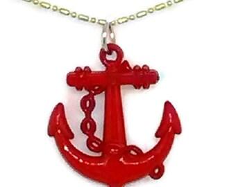 Red Patriotic Anchor Necklace