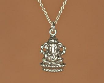 Ganesha necklace - silver ganesha - indian god - ganesh - yoga necklace - a solid silver ganesha on a sterling silver chain