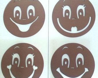 Eva rubber stencils for painting Fofuchas faces, 4 models. Mod4
