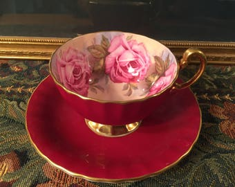 SOLD! Aynsley Cabbage Rose tea cup and saucer