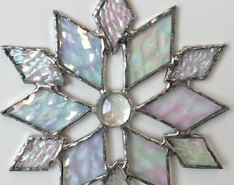 stained glass snowflake suncatcher (design 32B)