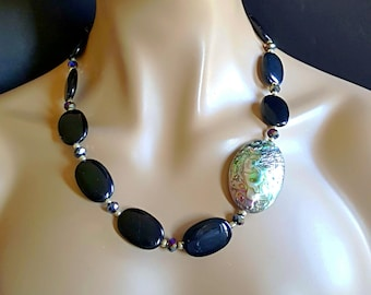 Black Onyx and Abalone Shell Asymmetrical Statement Necklace Gift for Her