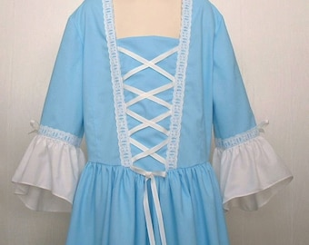 Girls Colonial Clothes American Girls Felicity Dress Costume  Size 12/14   -   Ready to Ship
