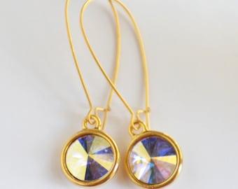 Swarovski Crystal Earrings, Crystal and Matte Gold Earrings, Minimalist Earrings, Prism Earrings, Perfect Gift, Bling, Simple Earrings SRAJD