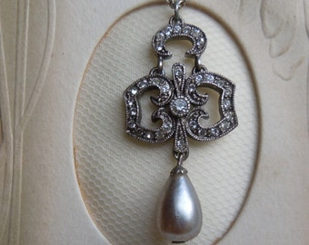 Faux Diamante and Pearl Pendant on Silver Chain