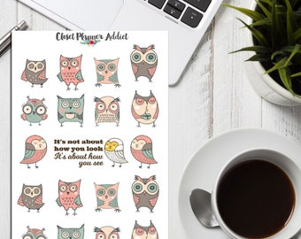 Cute Owls Planner Stickers | Owl Stickers | Cute Owl Stickers | Cute Birds Stickers | Quote Stickers | Funny Owl Stickers (S-231)