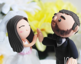 Custom Wedding Cake Topper- High-Five Couple