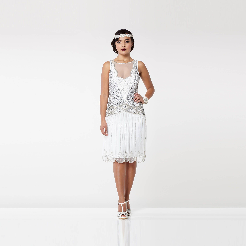 Kleid aus weißem Silber Elaina Flapper 1920er Jahren große