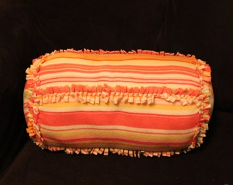 Fleece Decorative Tied Pillow, cushion, bolster, striped, kids room