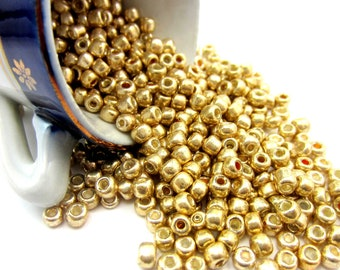50g- 6/0 Glass Seed Beads gold 4mm round glass beads  HP 0501 (WR)