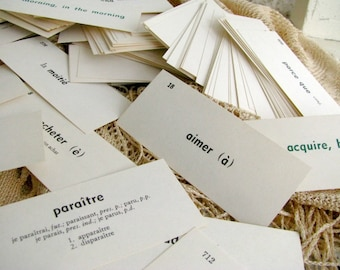 25 Vintage French Flash Cards | Word Cards | Paper Ephemera | Scrap Book Craft Mixed Media Supply