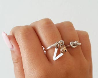 Adjustable ring in silver 925 with Bell and initial letter