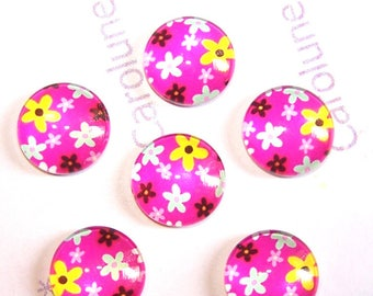 6 glass patterns POP pink flowers 14 mm round cabochons