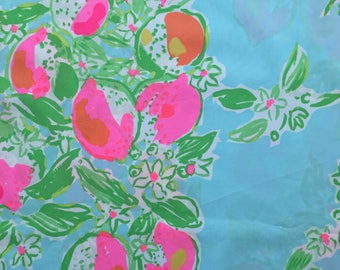 "pool blue pink lemonade poplin cotton fabric square 17""x17"" ~ lilly summer 2016 ~ lilly pulitzer"
