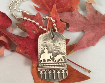Cutter Dog Tag Pendent/ Sterling silver/ Artisan Handmade and Engraved