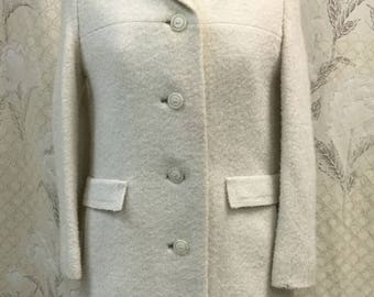 Vintage 1960s Ivory Wool Coat, Sycamore Wool Coat