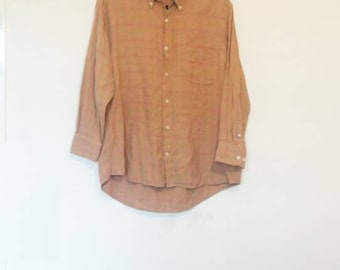 Brown Plaid Flannel Shirt Vintage Orange Plaid Flannel Shirt Oversize Brown Flannel Button Up Orange Flannel Button Down Vintage 90s Flannel