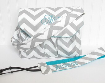 Personalized Chevron DSLR Camera Bag Gray with Turquoise with Camera Strap Digital Canon Rebel T3i EOS 55mm or Design Your Own