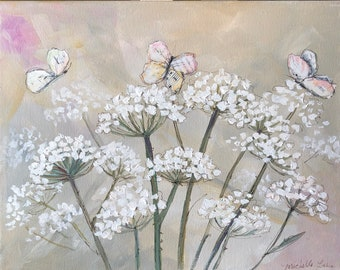 Floral Art PRINT of my original mixed media painting Queen Anne's Lace and repurposed books/music