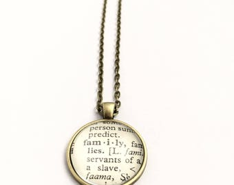 FAMILY Vintage Dictionary Word Pendant