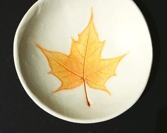 clay bowl jewelry bowl maple yellow orange stencil ring dish