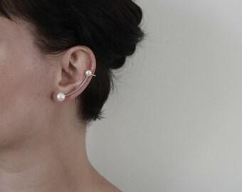 Silver ear climber with white pearls. Unique design modern ear climber. Minimalistic ear cuff.
