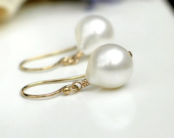 Baroque Bulb Drop Pearl Earrings    White Freshwater Pearls   14k Gold Fill Dangles   Birthday Gift   Simple Everyday Pearl   Ready to Ship