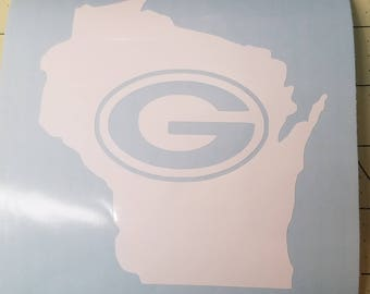 Green Bay Packers Wisconsin state die cut decal  Free shipping US addresses