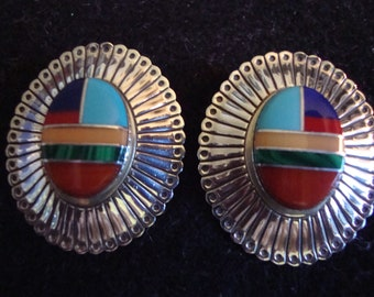 Turquoise and multi gem Native American Inlay Concho Earrings