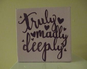 Truly Madly Deeply Love Romance Purple Sign Shelf Sitter Home Decor Jenuine Crafts