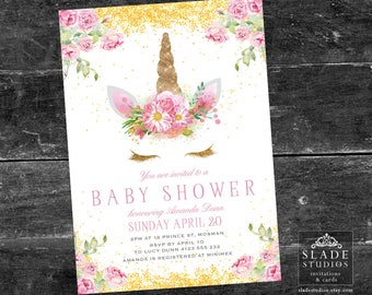 Unicorn baby shower party invitations. Pink vintage rose and gold or rainbow unicorn face printable party invitations.