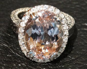 12 Carat Morganite and Diamond 14K White Gold Ring Engagement GIA Appraisal Included