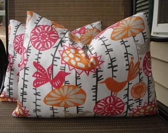 Bird Lumbar Pillow Covers One Pair 12 x 16 Handmade Home Decor Pink Orange Pillows Kidney Pillows Accent Pillows Colorful Pillows Throw