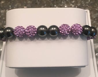 Lilac and Pewter bead bracelet
