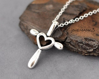 CROSS MY HEART Necklace, Heart Cross Charm,cross and heart pendant,everyday jewelry,silver cross necklace,First Communion Gift, Baptism Gift