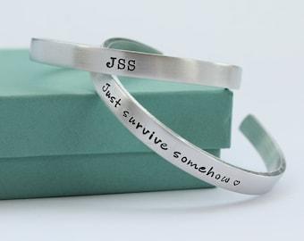 JSS Personalized Bracelet - Just Survive Somehow Bracelet - TWD Inspired JSS Jewelry - Just Survive Somehow Jewelry - Quote Bracelet -
