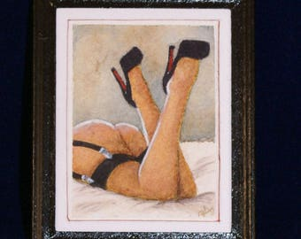 Miniature Watercolour Painting in 1:12 scale - #5 Modern Boudoir Painting
